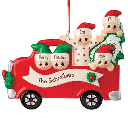 Personalized Red Truck Family Ornament-370544
