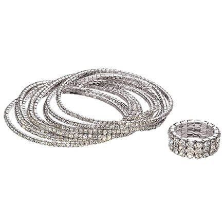 Set of 10 Crystal Bracelets and Stretch Ring-370586