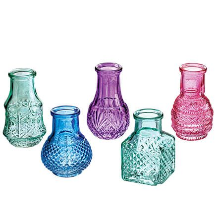 Mini Colored Glass Vases, Set of 5-370628