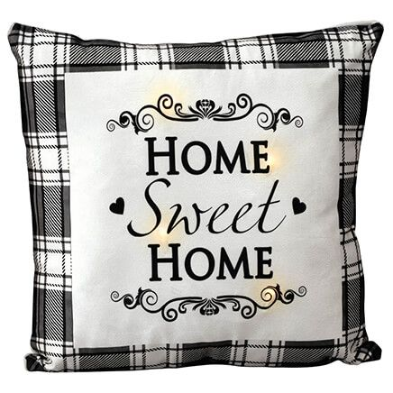 Home Sweet Home Black Plaid Light-Up Pillow-370633