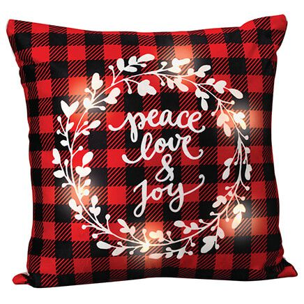 Peace, Love and Joy Light-Up Pillow-370634