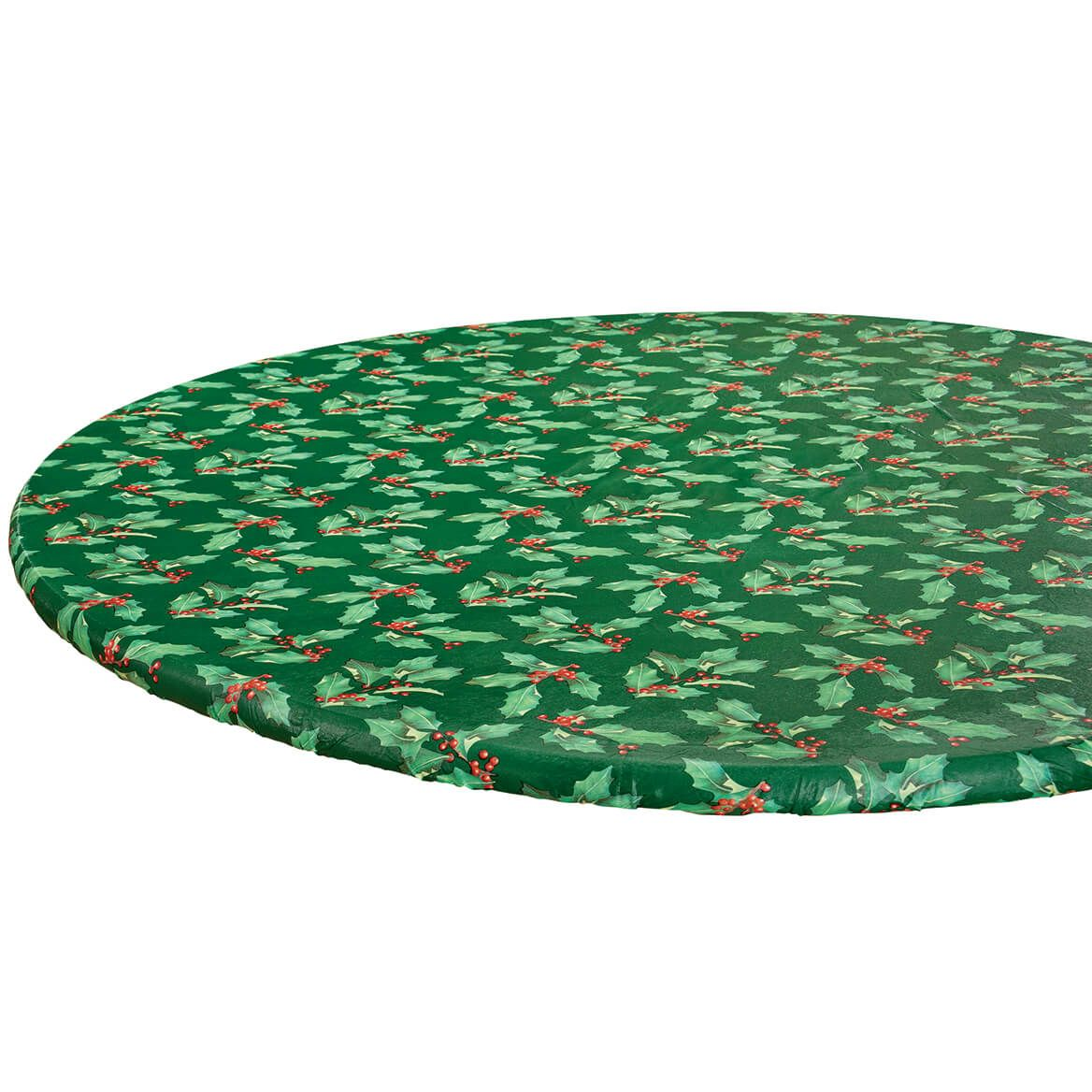 Holly Holiday Vinyl Elasticized Tablecover-370741