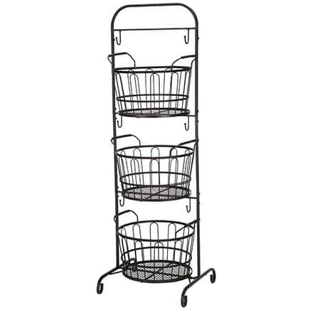 3-Tier Stand with Round Market Baskets-370898