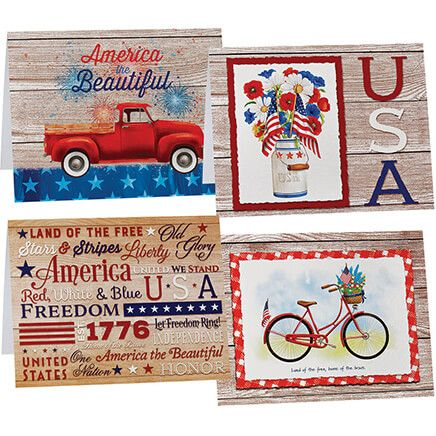 Patriotic Note Cards Set of 20-370929