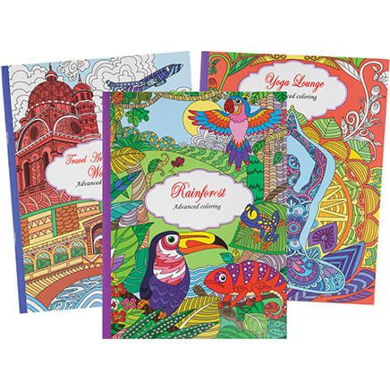 Adult Coloring Books: Travel, Rain Forest, Yoga, Set of 3-371056