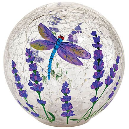 Dragonfly LED Crackle Decorative Glass Ball-371188