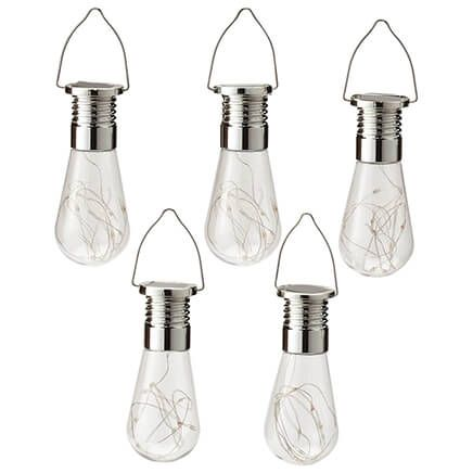 Edison-Style Colorful Solar Hanging Bulbs, Set of 5-371334