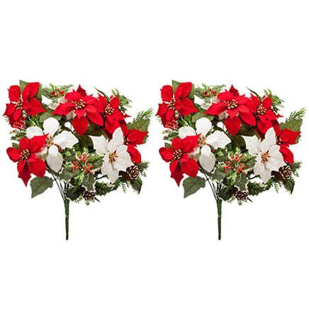 "21"" Poinsettia & Pinecone Bush by OakRidge™, Set of 2-371410"