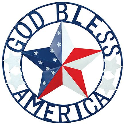 """Metal """"God Bless America"""" Wall Hanging by Fox River™ Creations-371457"""