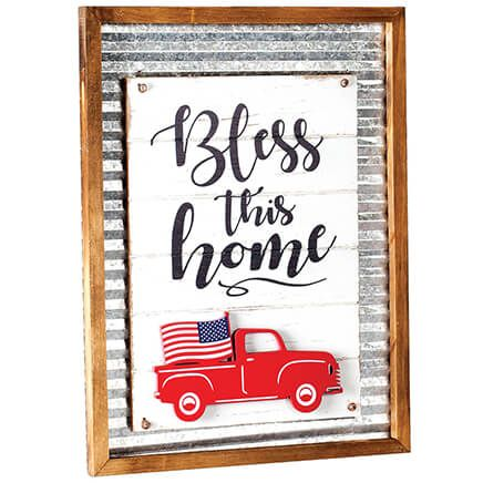 """Bless this Home"" Holiday Sign with Interchangeable Trucks-371535"