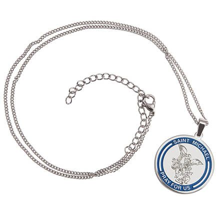 Personalized St. Michael Medallion Necklace-371581