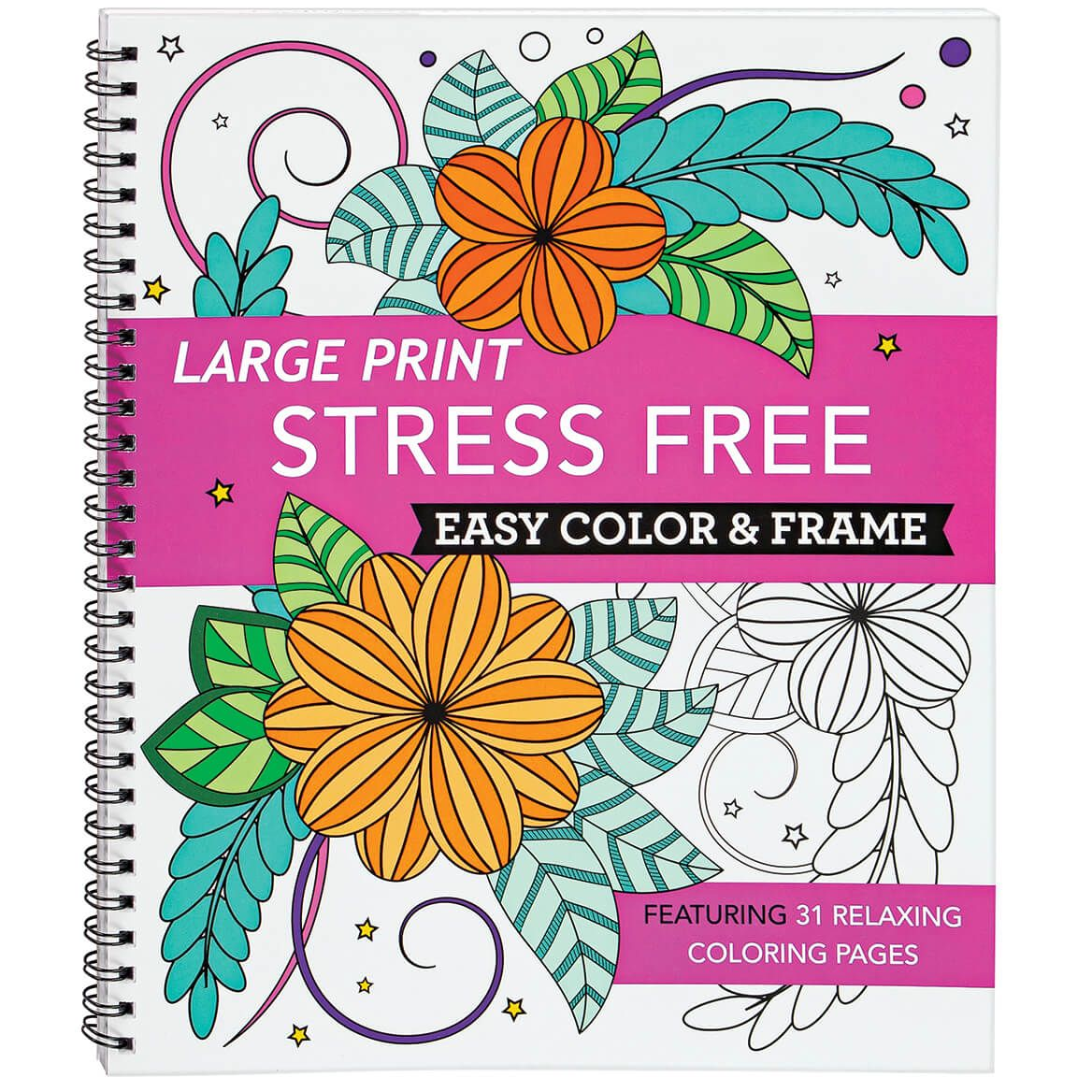 Large Print Stress Free Easy Color & Frame Book-371795