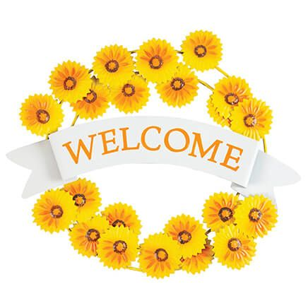 Metal Sunflower Welcome Wreath by Fox River™ Creations-371851