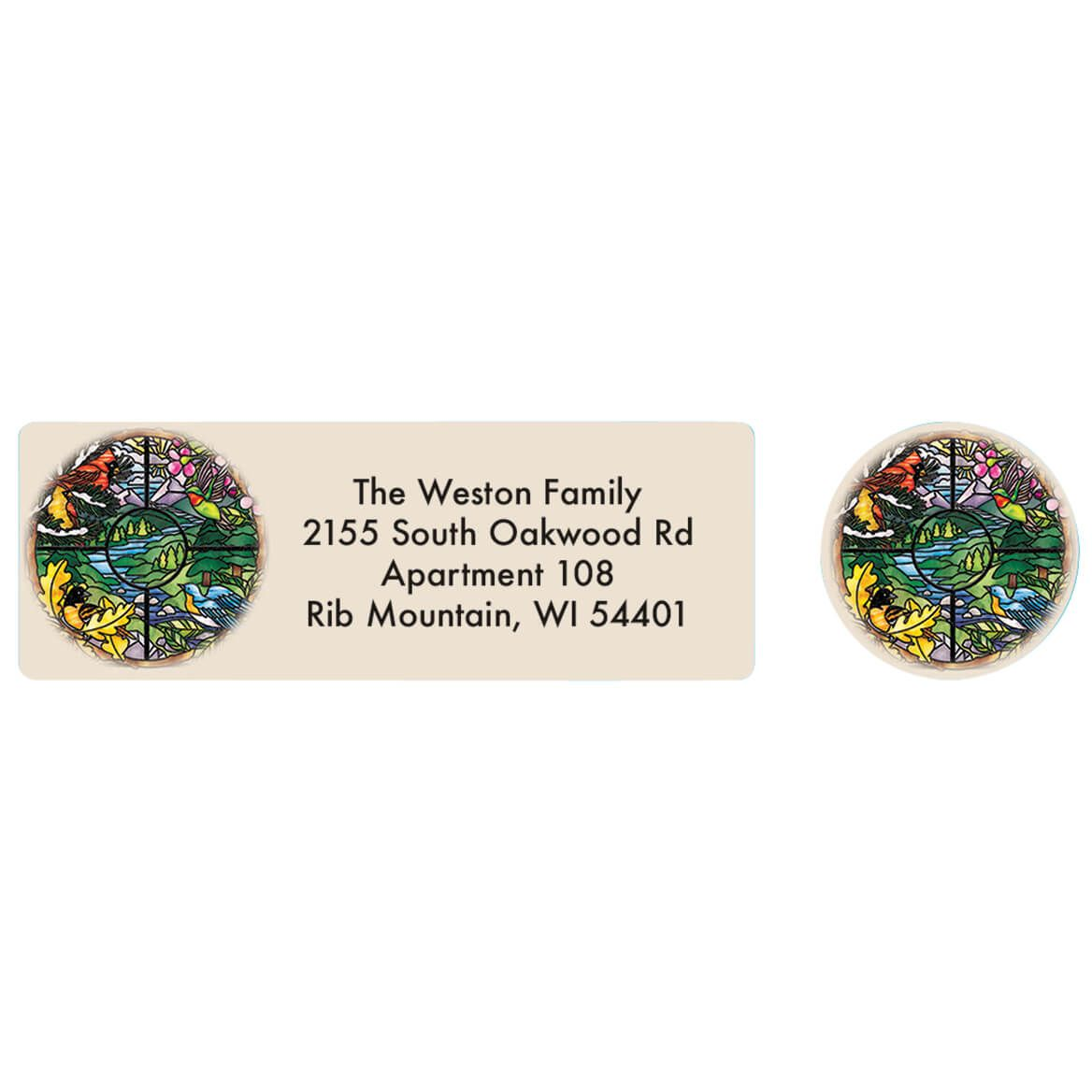 Seasons Stained Glass Address Labels and Envelope Seals-371878