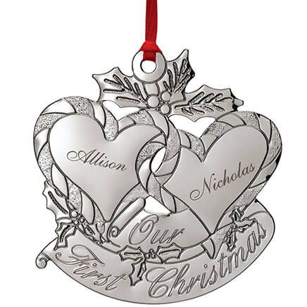 Personalized Silver-Tone Our First Christmas Ornament-372024