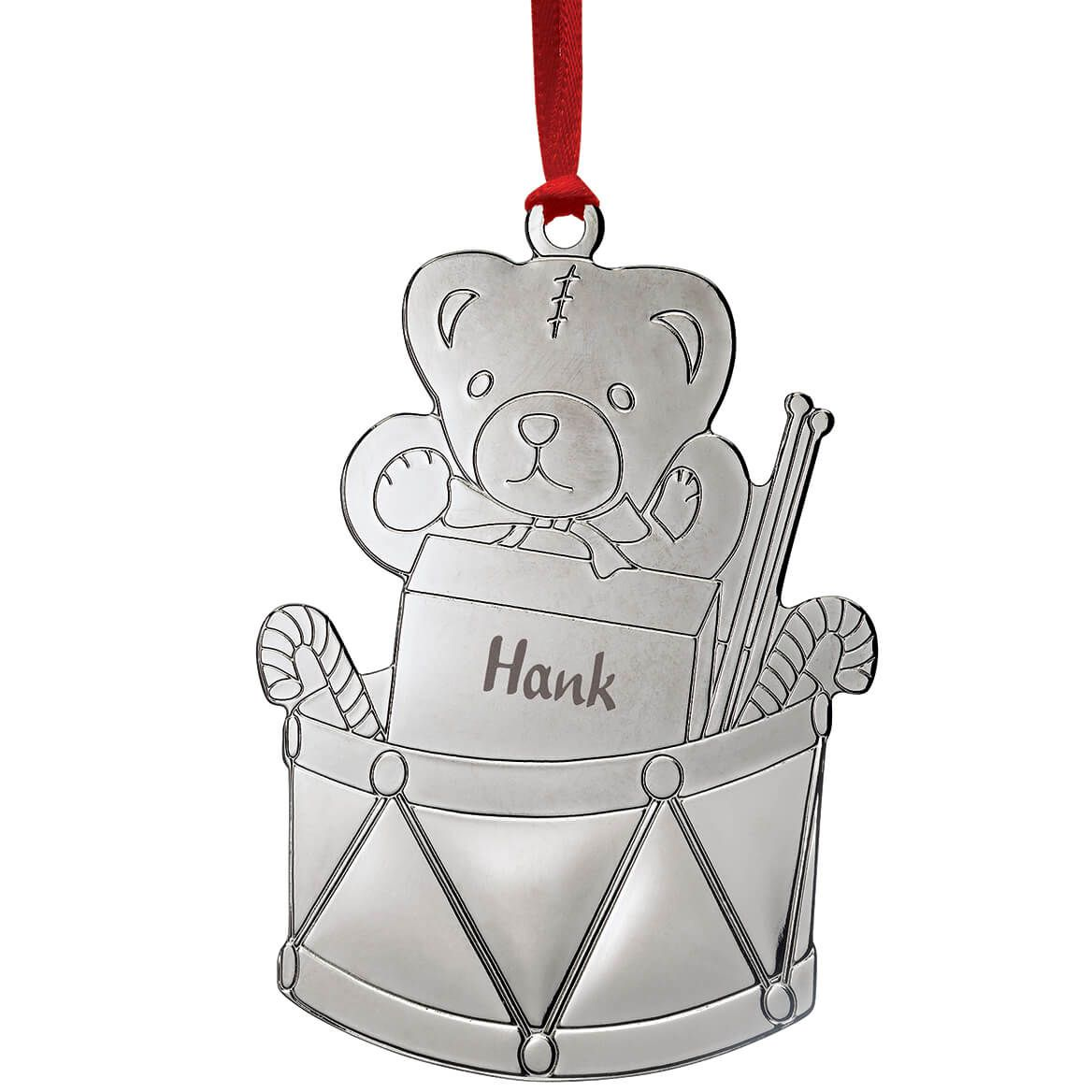 Personalized Silver-Tone Teddy Bear and Drum Ornament-372032