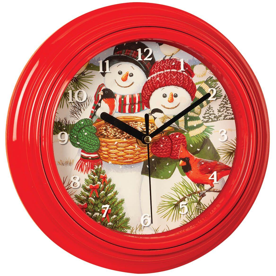 "9"" Snowman Couple Musical Clock-372162"