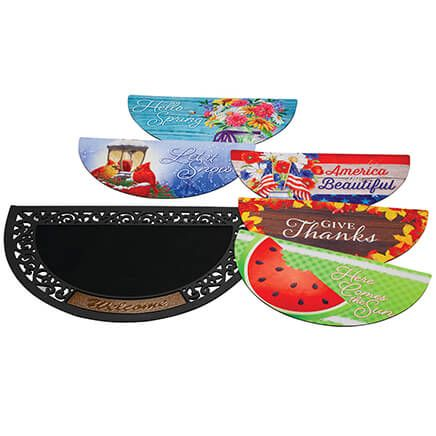 Half Round Welcome Mat with Five Seasonal Inserts-372296