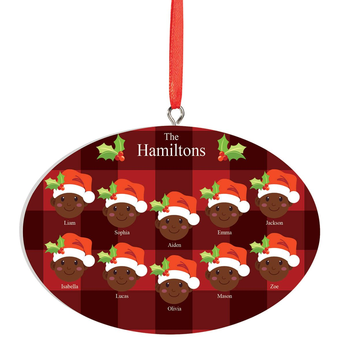 Personalized Dark Skintone Santa Hat Family Ornament-372374