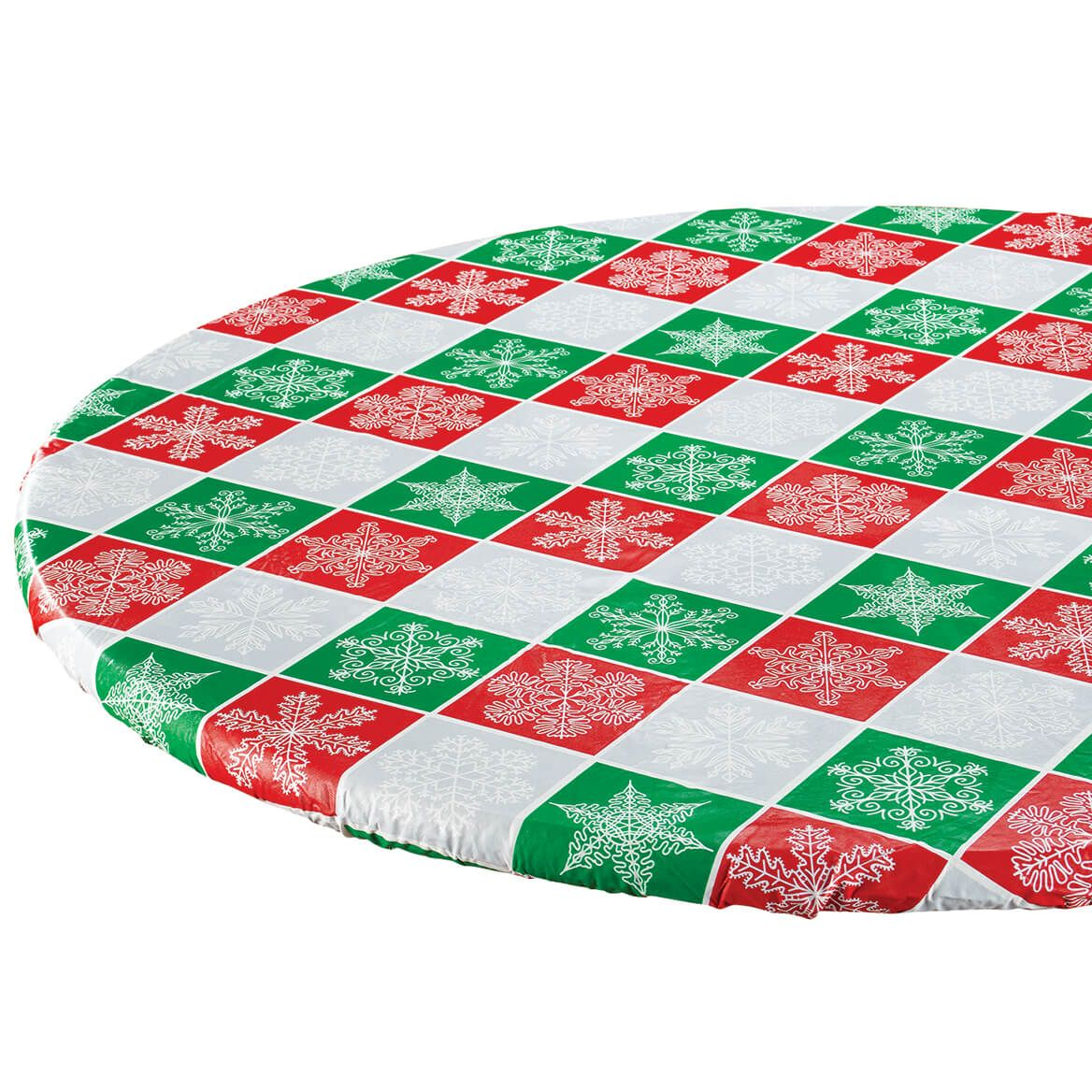 Snowflake Plaid Elasticized Table Cover by Chef's Pride™-372389