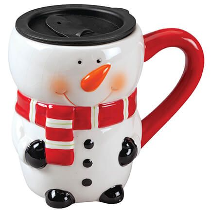 Ceramic Snowman 17 oz. Mug with Lid-372396