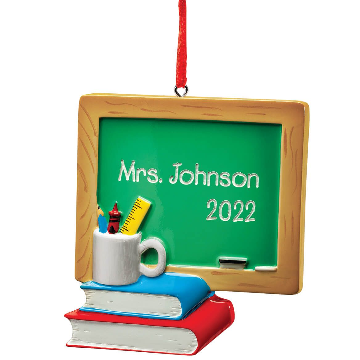 Personalized Chalkboard and Books Ornament-372415