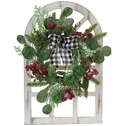 Christmas Window Frame with Eucalyptus Wreath-372440