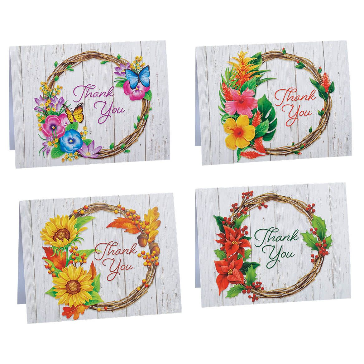 Seasonal Floral Wreath Thank You Cards, Set of 20-372513
