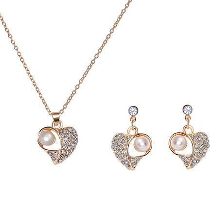 Cultured Pearl/Crystal Necklace and Earrings Set-372518