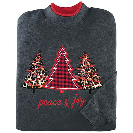 Peace & Joy Applique Tree Sweatshirt by Sawyer Creek™-372551