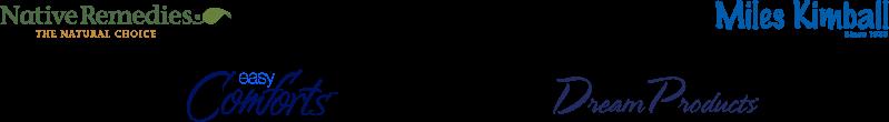 Native Remedies brand logo, Walter Drake brand logo, Miles Kimball brand logo, Easy Comforts brand logo, Dream Products brand logo