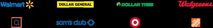 Walmart brand logo, Dollar General brand logo, Dollar Tree brand logo, Walgreens brand logo, QVC brand logo, Sam's Club brand logo, Target brand logo, The Home Depot brand logo