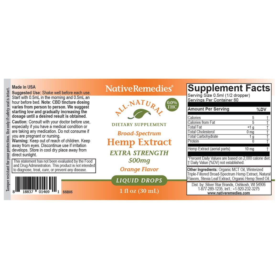 Extra-Strength Hemp Extract 500 mg-367950