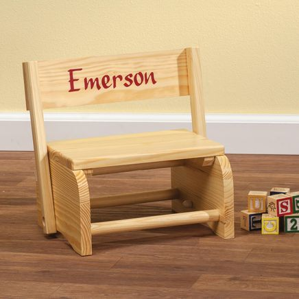 Personalized Natural Wooden 2-in-1 Chair and Stepstool-310985
