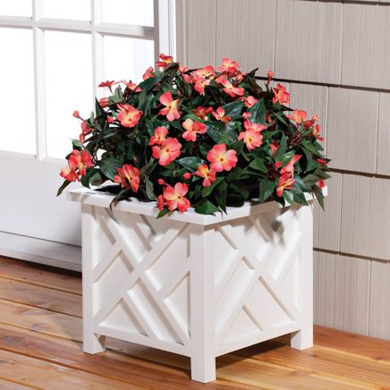 White Chippendale Planter-329156