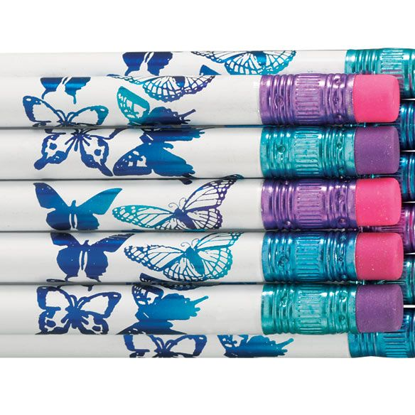 Personalized Butterfly Foil Pencils, Set of 12-335693
