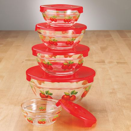 Red Apples Glass Bowls Set of 5-338042