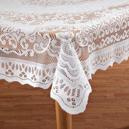White Fleur de Lis Lace Tablecloth-344547