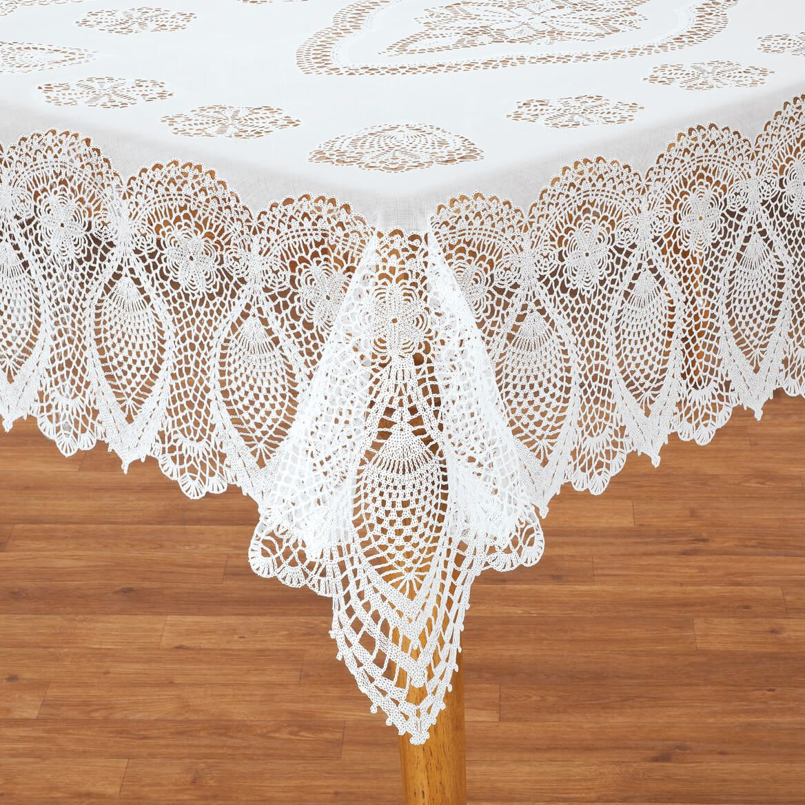 Crocheted Lace Vinyl Table Cover-344657