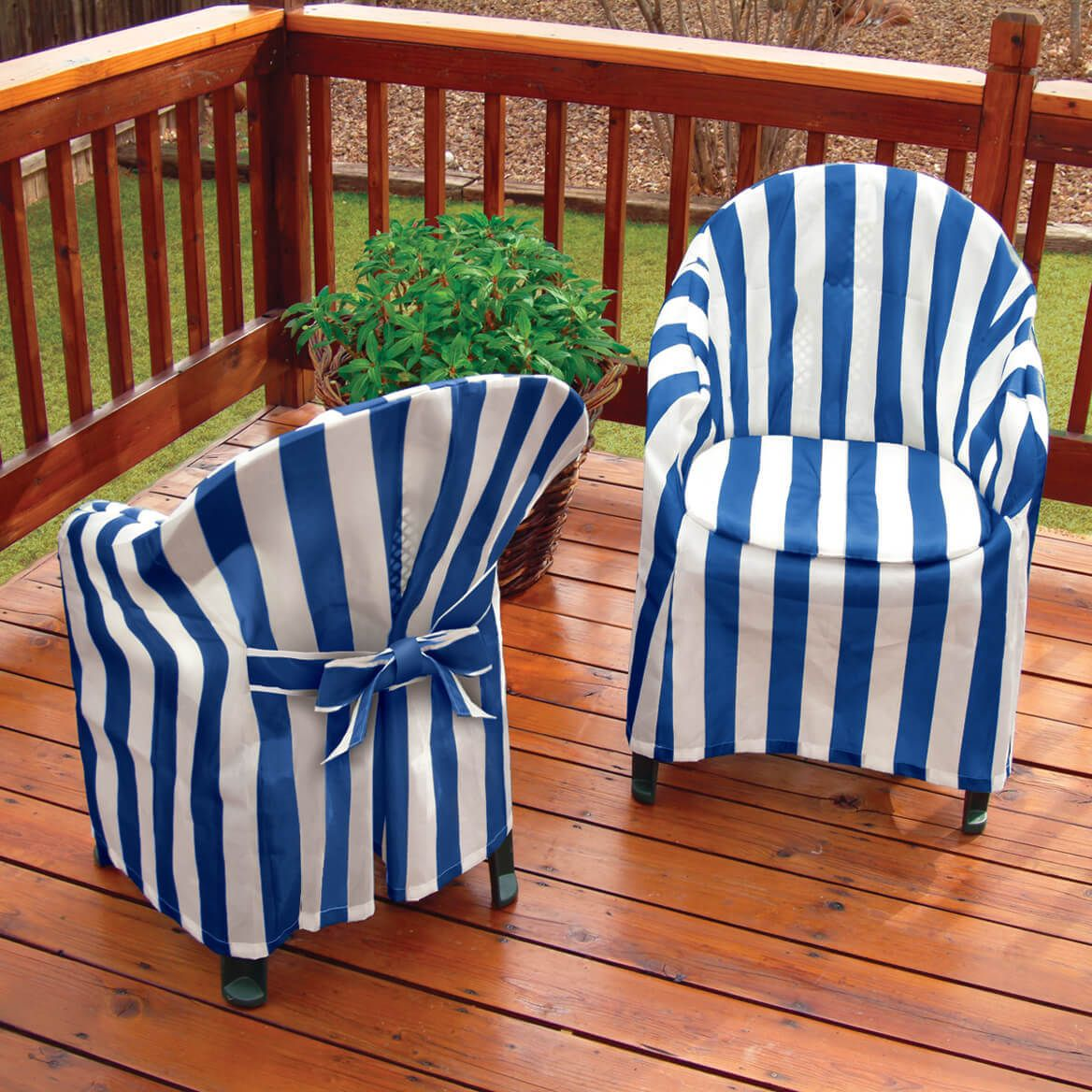 Striped Patio Chair Cover with Cushion-348757