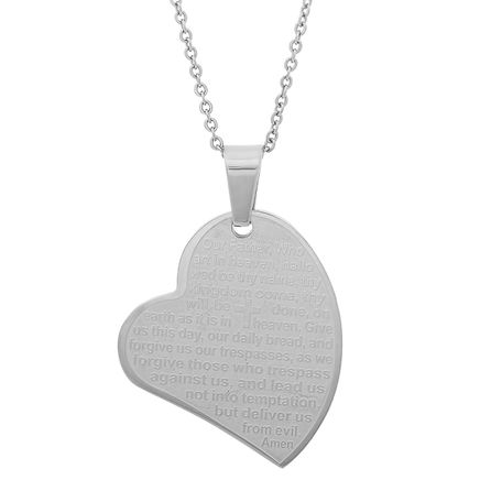 Lord's Prayer Heart Pendant Necklace-355415