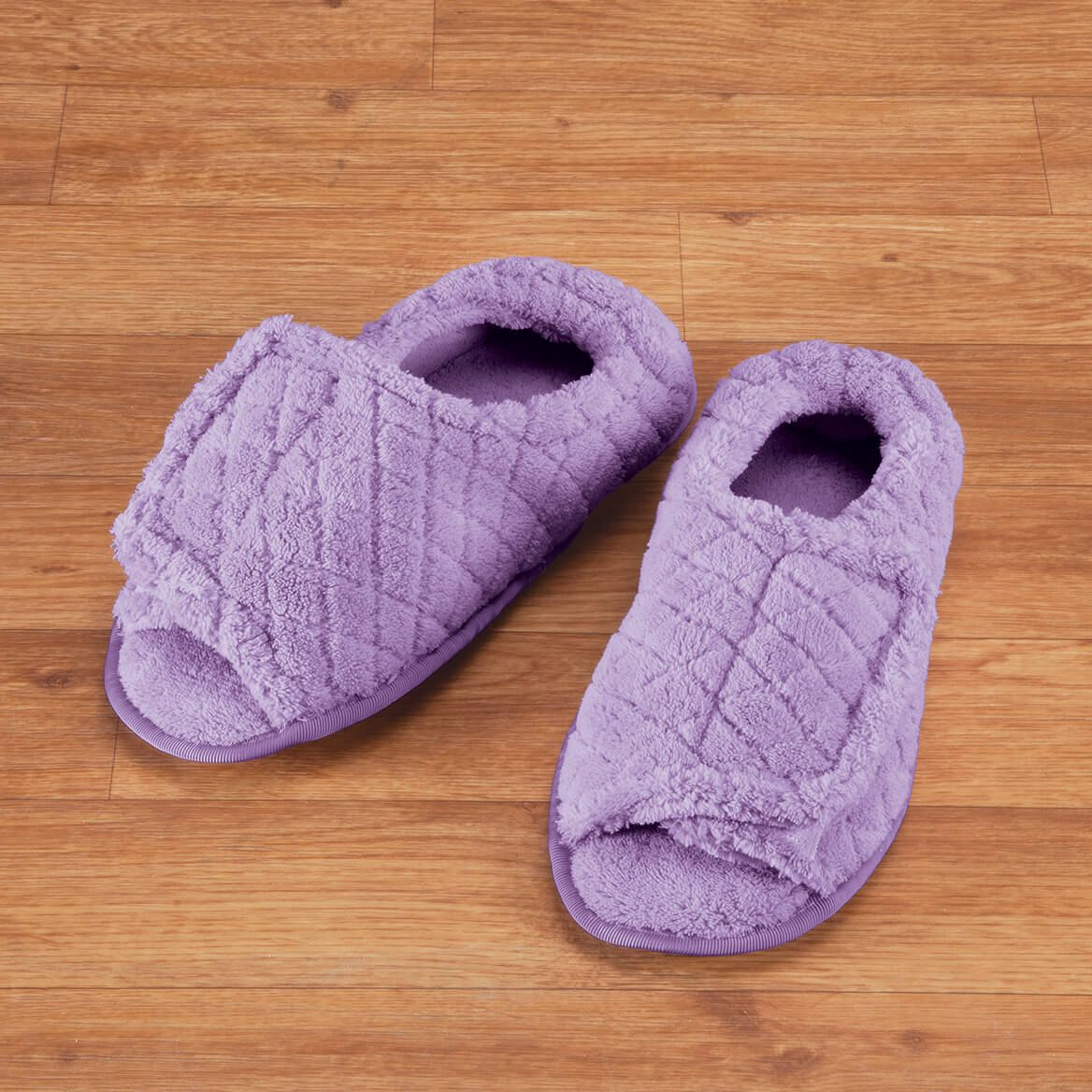 Quilted Chenille Adjustable Toe Slippers-355563