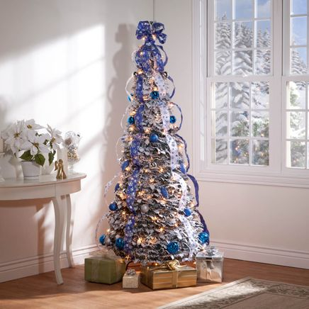 6-Foot Fully Decorated Flocked Pull-Up Tree-356287