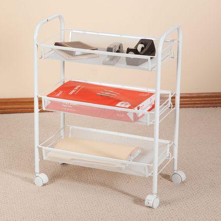 3 Tier Mesh Wire Rolling Cart-356782