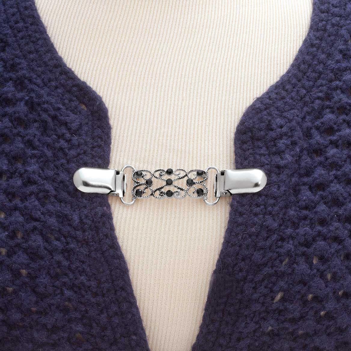 Decorative Sweater Silvertone Clasp-358371