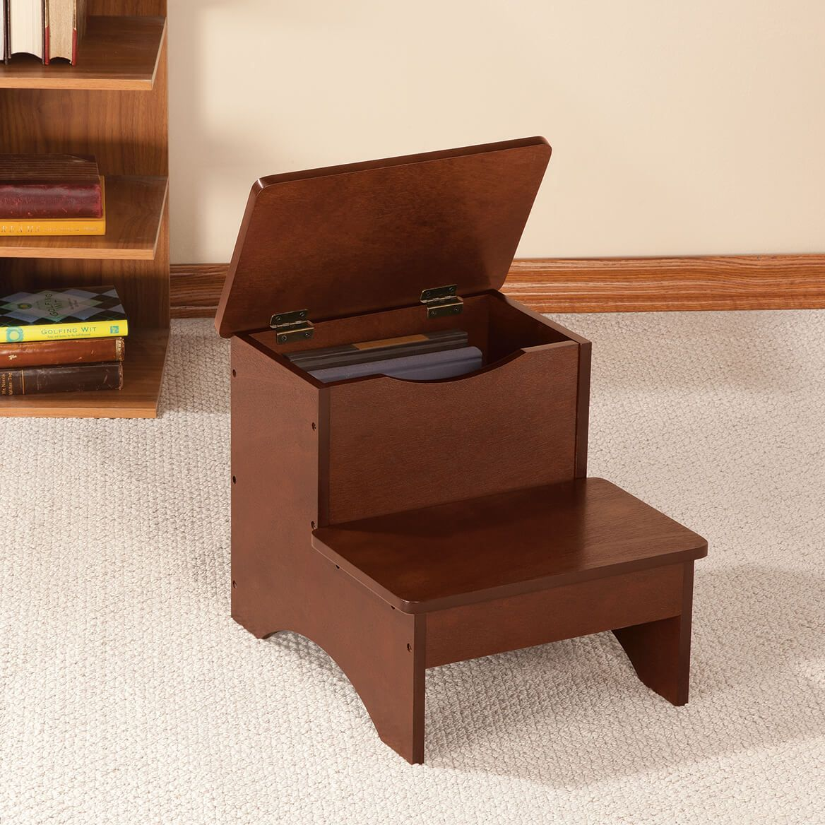 Wooden Step Stool with Storage by OakRidge™-359670