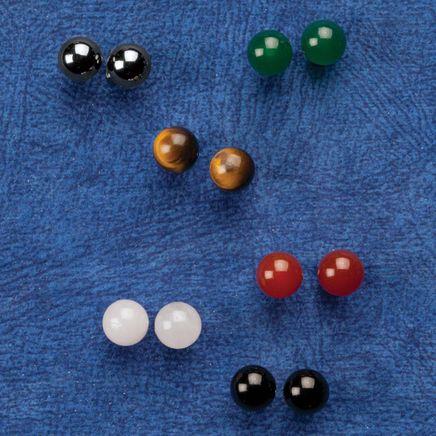 Genuine Gemstone Post Earrings - Set of 6 Pair-360067