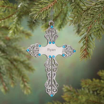 Personalized Birthstone Cross Pewter Ornament-360374