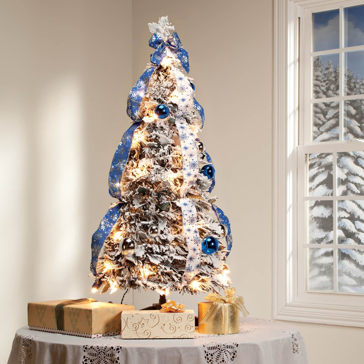 3' Snow Frosted Winter Style Pull-Up Tree by Holiday Peak™-360612