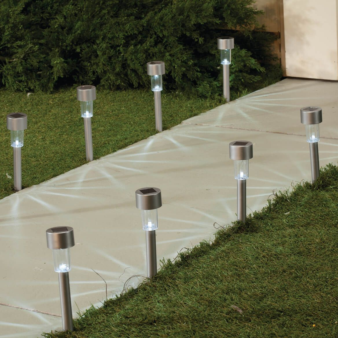 Silver Solar Light Stakes with White Lights Set of 10-360654